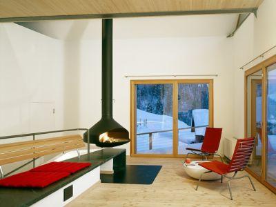 cheminée contemporaine - Panix résidence par Drexler-Guinand-Jauslin architekten, Panex, Suisse