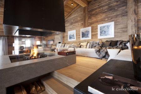 cheminée et salon - Chalet Carl à louer à Oberlech en Autriche - Le Collectionist