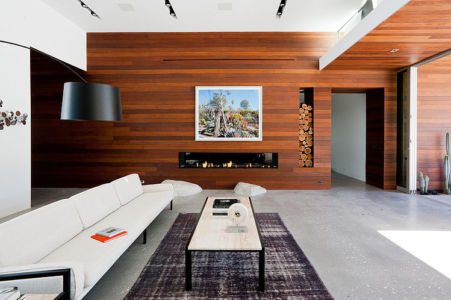 cheminée et salon - F-5 Residence par Studio AR+D Architects - Indian Wells, Usa