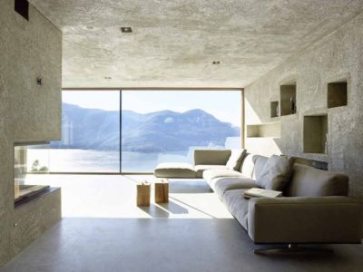 cheminée et salon - House in Brissago par Wespi de Meuron Romeo architects - Brissago, Suisse