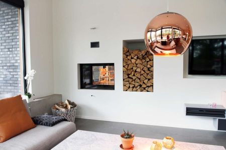 cheminée et salon - Villa E par Stringdahl Design - Suède