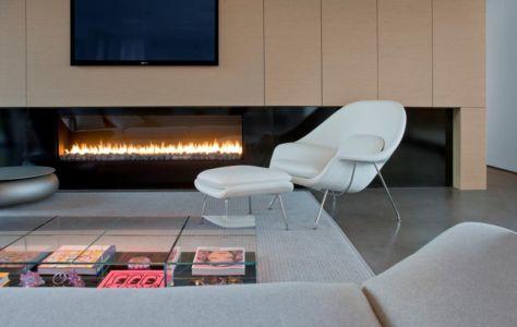 cheminée salon - Levin Residence par Ibarra Rosano Design Architects - Marana, Usa