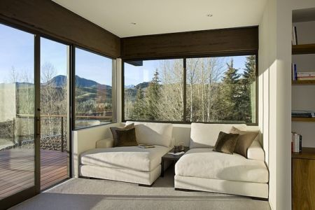 coin détente - maison bois et pierre contemporaine - Sun Valley, Usa