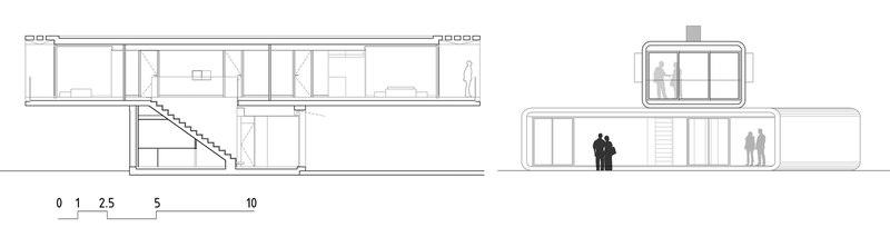 coupe transversale - Crossed House par Clavel Arquitectos - La Alcayna, Espagne