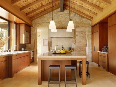 cuisine - Mountain Wood Residence par Walker Warner Architects -Woodside, Usa