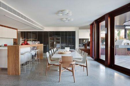 cuisine et séjour - Maison contemporaine bois béton par BG Architecture - Melbourne, Australie