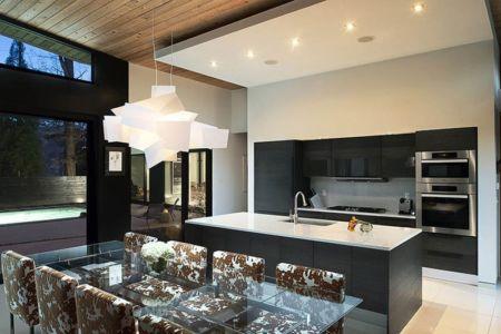 cuisine et séjour - wing-roofed home par Staffan Svenson architect - Atlanta, Usa