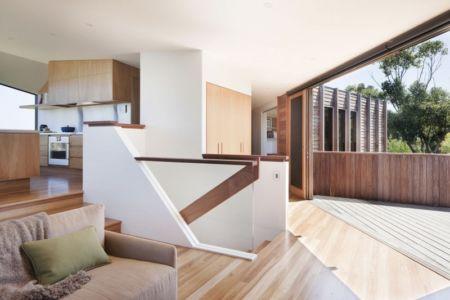 cuisine et salon - Aireys House par Byrne Architects -  Aireys Inlet, Australie