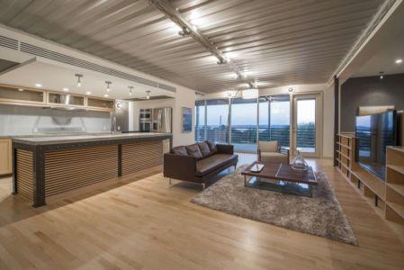 cuisine et salon - PV14 House par M Gooden Design - Dallas, Usa