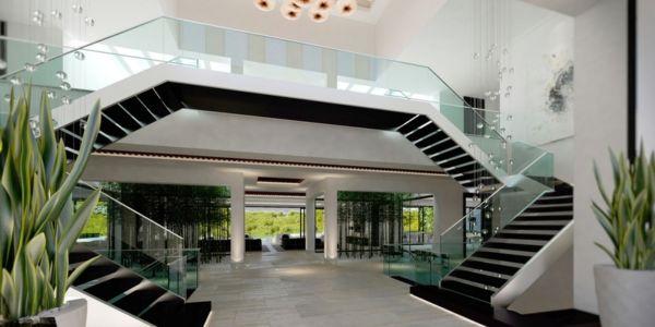 double escalier - luxueuse villa par Ark Architects - San Roque, Espagne