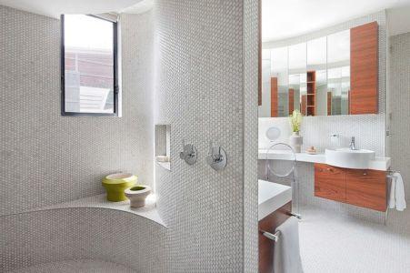 douche salle de bains - Maison contemporaine bois béton par BG Architecture - Melbourne, Australie
