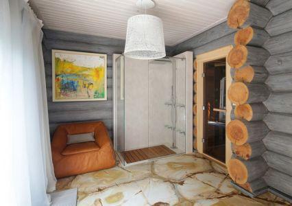 douche salle de bains - Wooden Cottage par Elena Sherbakova près de Moscou, Russie