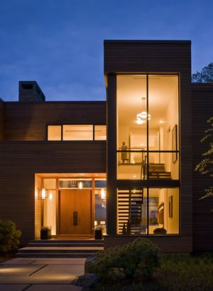 entrée de nuit - Secluded contemporary home par Point One Architects - Essex, Usa