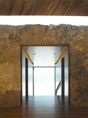 entrée en pierres - Wildcat Ridge residence par Voorsanger Architects - Aspen, Usa