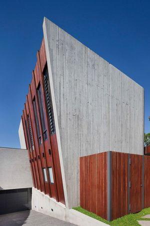 entrée garage - Maison contemporaine bois béton par BG Architecture - Melbourne, Australie