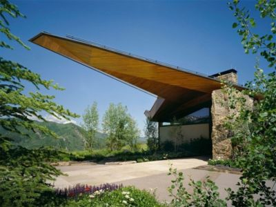 entrée monumentale - Wildcat Ridge residence par Voorsanger Architects - Aspen, Usa