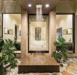 entrée salle de bains - villa contemporaine par Blue Heron - Henderson, USA