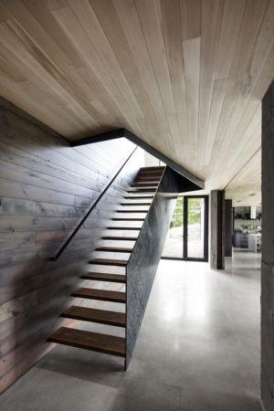 escalier accès étage - La-Heronniere par Alain Carle Architecte - Québec, Canada