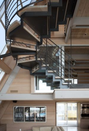 escalier accès étage - frame-house par Bromley Caldari Architects - New York, USA