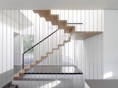 escalier bois - Single-family-house par Christian von Düring architecte, Suisse