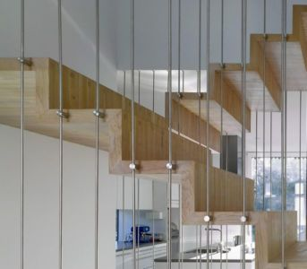 escalier bois étage - Single-family-house par Christian von Düring architecte, Suisse