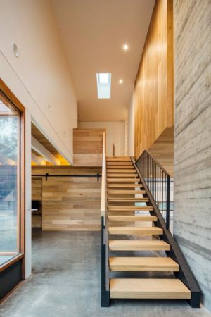 escalier bois et métal - Dawes Road House par Moloney Architects - Ballarat, Australie