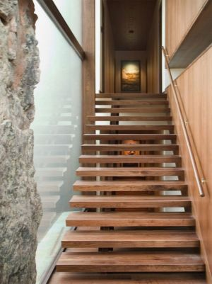 escalier en bois - Wildcat Ridge residence par Voorsanger Architects - Aspen, Usa