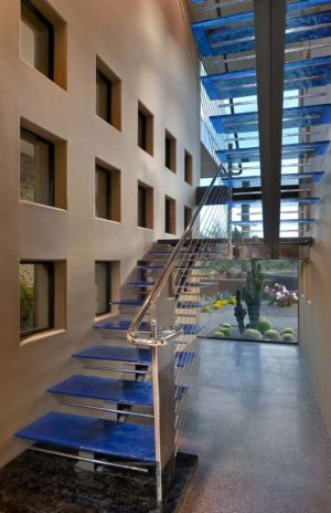 escalier métallique et verre - Sefcovic Residence par Tate Studio Architects - Usa
