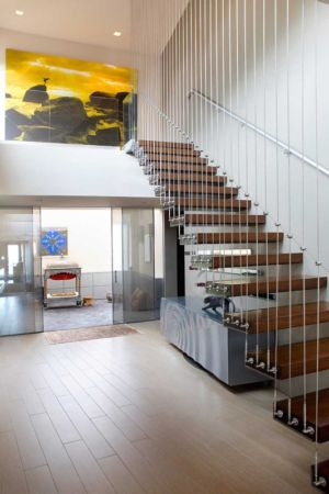 escalier suspendu - Sands Point Residence par Narofsky Architecture - Long Island, Usa