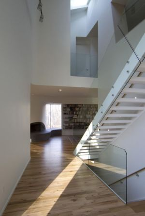 escalierr & balustrade vitrée - DR_RESIDENCE par SU1 Architects + Design - Connecticut, USA