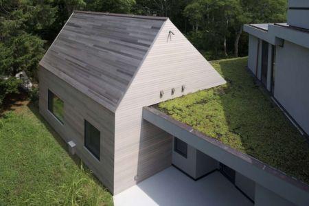 extension et toiture terrasse végétalisée - Sayres House and Hanging Gardens par Maziar Behrooz Architecture - East Hampton, Usa
