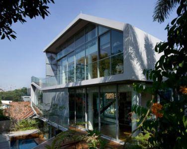 façade étage supérieur & vue panoramique rez de chaussée - Home-Walls par Mink Architects - Singapour