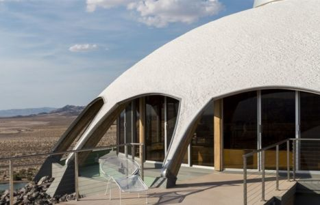 façade baie vitrée entrée - Volcano-House - Californie, USA