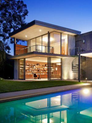 façade bilibliothèque de nuit - Chatauqua Residence par Studio William Hefner - Californie, Usa
