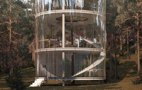 façade cylindrique en verre - Glass-House par Aibek-Almassov - Kazakhstan