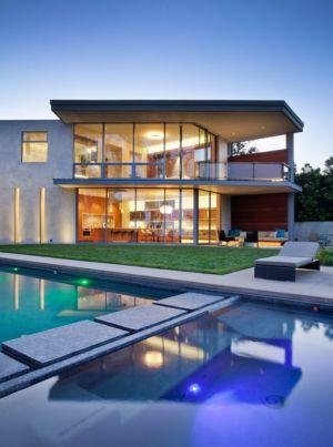 façade de nuit - Chatauqua Residence par Studio William Hefner - Californie, Usa
