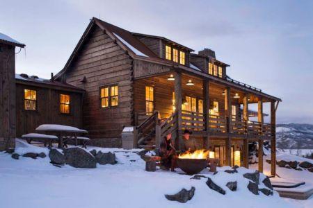 façade de nuit - Rocky Mountain retraite par Beck Building Company - Aspen Springs, Usa