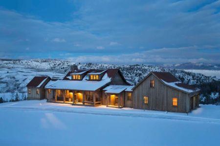 façade de nuit et panorama - Rocky Mountain retraite par Beck Building Company - Aspen Springs, Usa