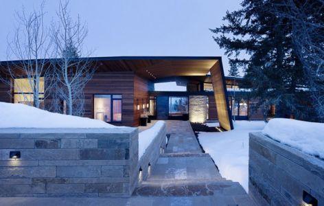 façade entrée - Butte Residence par Carney Logan Burke Architects - Jackson, Usa