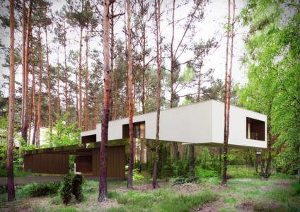 façade entrée - Izabelin House par REFORM Architekt - Varsovie, Pologne