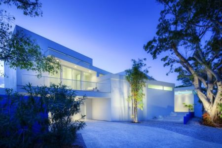 façade entrée - Light Box House par Jonathan Parks Architect - Lido Shores, Sarasota, Usa