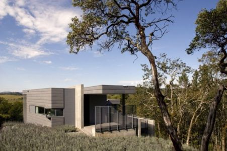 façade entrée - Maison contemporaine béton par Cooper Joseph Studio - Sonoma, Usa
