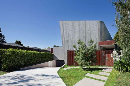 façade entrée - Maison contemporaine bois béton par BG Architecture - Melbourne, Australie