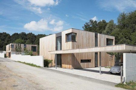 façade entrée - Maisons bois contemporaines par Zamel Krug Architekten - Hagen, Allemagne
