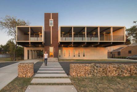 façade entrée - PV14 House par M Gooden Design - Dallas, Usa