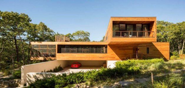 façade entrée garage - Hamptons Home In The Woods par Rangr Studio - Southampton, New York, Usa