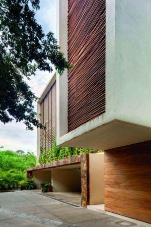 façade entrée garage - Villas Finestre par CC ARQUITECTOS - Mexique - Photo Rafael Gamo & Yoshihiro Koitani