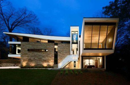 façade entrée - wing-roofed home par Staffan Svenson architect - Atlanta, Usa