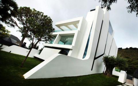 façade extérieure et olivier - Weave House par A-cero - Barcelone - Espagne - Photo Marcos Domingo
