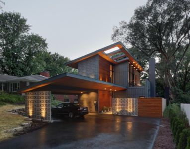 façade garage - Midvale Courtyard House par Bruns Architecture - Madison, Usa